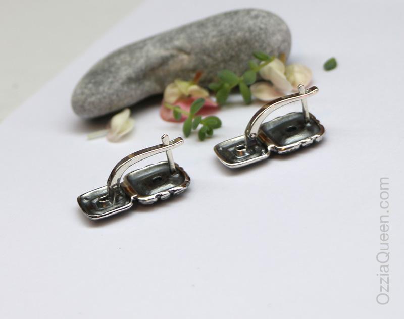 Серебряные серьги с удобным замком